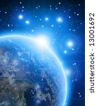 blue planet earth in outer space | Shutterstock . vector #13001692