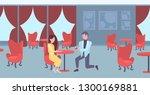 man kneeling holding engagement ... | Shutterstock .eps vector #1300169881