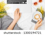 young woman freelancer working... | Shutterstock . vector #1300194721