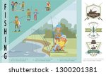 flat fishing hobby concept with ... | Shutterstock .eps vector #1300201381