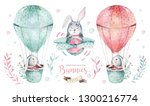 Stock photo hand drawn watercolor happy easter set with bunnies design rabbit bohemian style isolated boho 1300216774