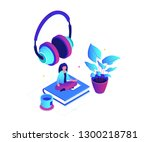 listening to music   modern... | Shutterstock .eps vector #1300218781