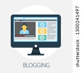 flat illustration of blog ... | Shutterstock .eps vector #1300241497