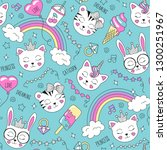 cute animals pattern on a... | Shutterstock .eps vector #1300251967