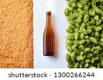 brown beer bottlle mockup on... | Shutterstock . vector #1300266244