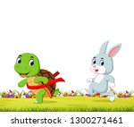 a turtle win the race against a ... | Shutterstock .eps vector #1300271461