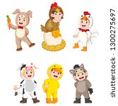 collection children wearing... | Shutterstock .eps vector #1300275697