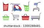 supermarket carts and baskets... | Shutterstock .eps vector #1300288681