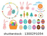 happy easter set  vector... | Shutterstock .eps vector #1300291054