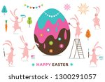 easter scene  cute funny ... | Shutterstock .eps vector #1300291057