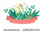 vector pink ribbon with flowers.... | Shutterstock .eps vector #1300294144