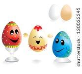 painted funny easter eggs | Shutterstock .eps vector #130032245