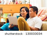 asian people sitting in front... | Shutterstock . vector #130033034