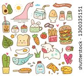 set of kawaii doodle  food ... | Shutterstock .eps vector #1300335151