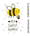 cute honey bee isolated on white | Shutterstock .eps vector #1300344271