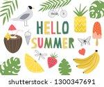 hello summer vector...   Shutterstock .eps vector #1300347691