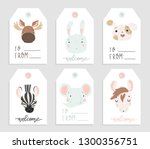 sale and gift tags with cute... | Shutterstock .eps vector #1300356751