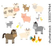 farm animals set in flat style... | Shutterstock .eps vector #1300374964