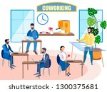 interior coworking. people work.... | Shutterstock .eps vector #1300375681