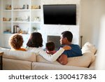 back view of young family... | Shutterstock . vector #1300417834