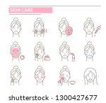 skin care procedures. line... | Shutterstock .eps vector #1300427677