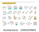 cooking instruction icons.... | Shutterstock .eps vector #1300429804