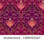 barocco style gold branches... | Shutterstock .eps vector #1300432267