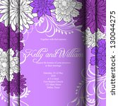 invitation or wedding card with ... | Shutterstock .eps vector #130044275