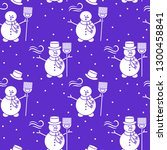 seamless pattern with snowman ... | Shutterstock .eps vector #1300458841