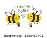 cute honey bees isolated on... | Shutterstock .eps vector #1300460701