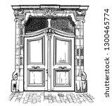 antique door. door in modern... | Shutterstock .eps vector #1300465774