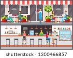 waiter and barista  visitors in ... | Shutterstock .eps vector #1300466857
