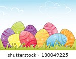 colorful easter eggs in grass.... | Shutterstock .eps vector #130049225