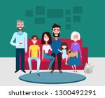 big happy family sitting on the ... | Shutterstock .eps vector #1300492291