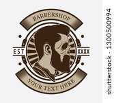 barber shop skull head logo ... | Shutterstock .eps vector #1300500994