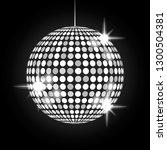 shining silver disco ball on a... | Shutterstock .eps vector #1300504381