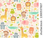 pastel cute jungle animals with ... | Shutterstock .eps vector #1300537837