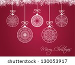christmas balls on colorful... | Shutterstock . vector #130053917