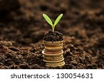 golden coins in soil with young ... | Shutterstock . vector #130054631