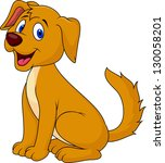 cute puppy sitting | Shutterstock .eps vector #130058201
