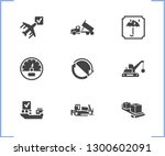 vehicle icon set and bulldozer...