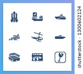 transport icon set and shuttle...