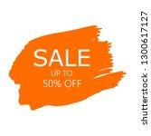 sale 50  off sign over art... | Shutterstock .eps vector #1300617127