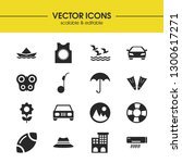 summer icons set with ball for...