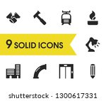 industrial icons set with tram  ...