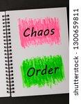 chaos versus order words on... | Shutterstock . vector #1300659811