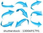 blue 3d shiny arrows. set of... | Shutterstock .eps vector #1300691791