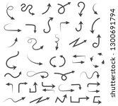 hand drawn arrows. filigree... | Shutterstock .eps vector #1300691794