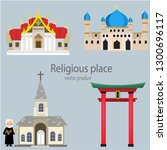 the religious places is on the... | Shutterstock .eps vector #1300696117