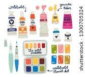watercolor  gouache  oil and... | Shutterstock .eps vector #1300705324